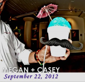 blue snow cone in a photo booth with a mustache and umbrella at a wedding